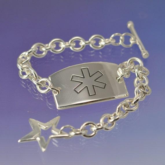 Custom Medical Alert Tag Bracelet. Allergy Bracelet. Silver