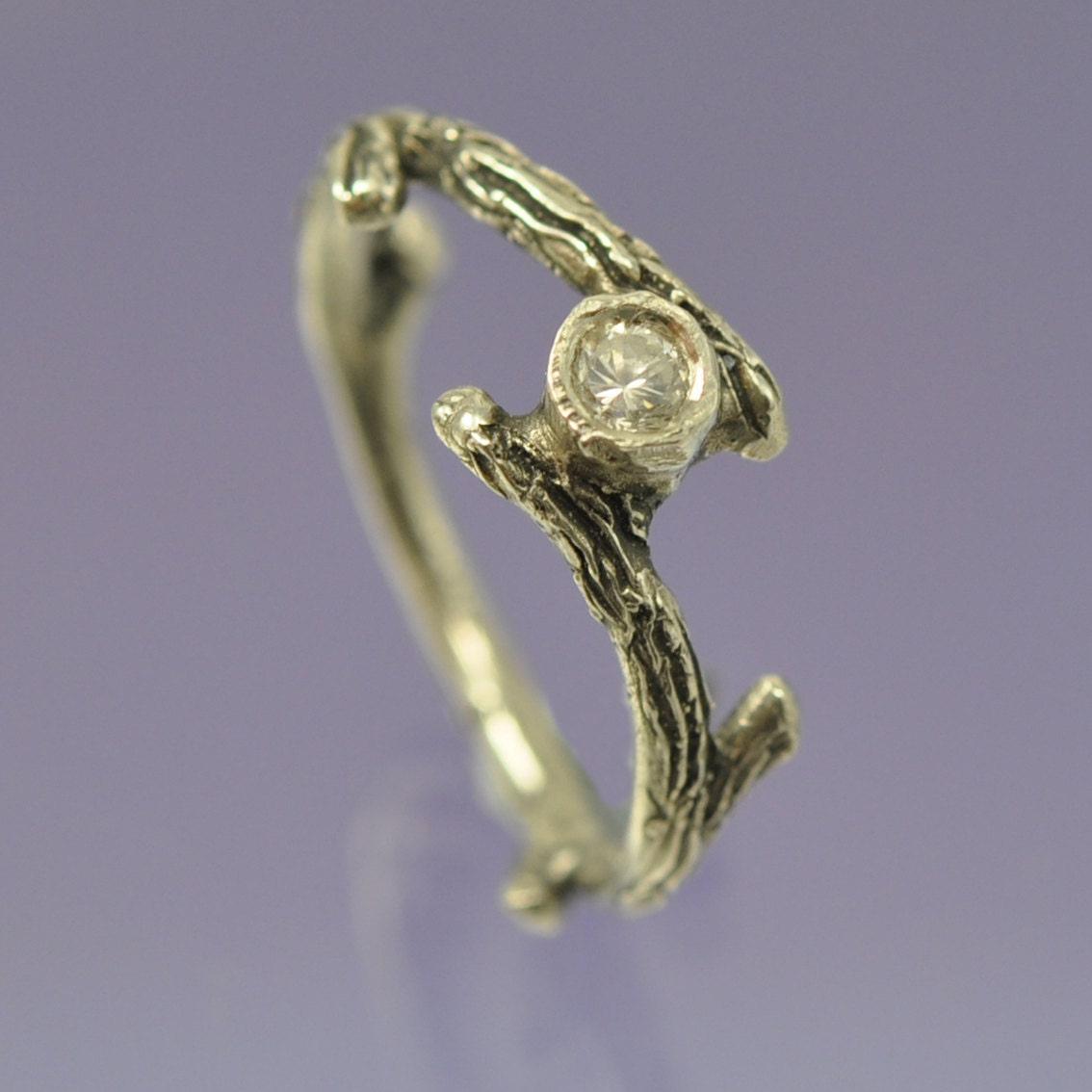 twig ring emerald engagement ring sterling silver by
