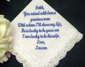 Bride to Mother of the Groom 10S bridal hanky with Gift Box and includes shipping in the US Personalized Wedding Handkerchief