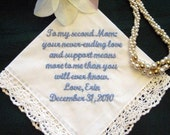 Stepmother or Other Special Someone with Free Gift Box 114S  FREE shipping in US Personalized Wedding Handkerchief