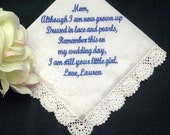 Mother of the Bride with Free Gift Box 11S includes Free shipping in the US Personalized Wedding Handkerchief