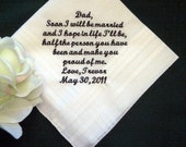 Bride or Groom to Dad with Gift Box 100S Personalized Wedding Handkerchief