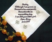 Dad with Clovers from the Bride with Free Gift Box 105S includes Free shipping in the US Personalized Wedding Handkerchief