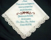 Mother of Bride in Spanish 120S Personalized Wedding Handkerchief