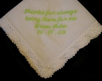 Embroidered Mother of the Groom Gift – Mother of the Groom Handkerchief – Wedding Handkerchief – Personalized Hankie 51S