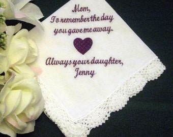 30 words of your choice.Embroidered Mother of the Bride Gift Mother of the Bride Handkerchief Wedding Handkerchief – Personalized Hankie 95S
