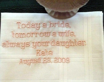 Father of the Bride hanky style number 6B wedding handkerchif,embroidered hankie,personalized hanky