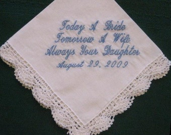Mother of the Bride Wedding Hanky with Gift Box 80S Personalized weddingh hankie