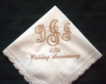 Personalized Anniversary Gift. wedding handkerchief,custom hankie,hanky