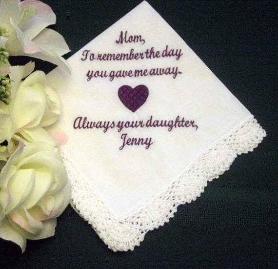 Personalized Wedding Gift For Mom : Mother of the Bride Gift Mother of the Bride Handkerchief Wedding ...