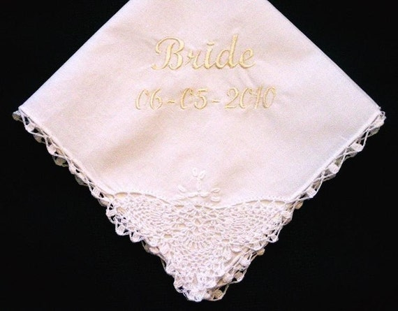 Wedding Gifts For A Bride: Lace Corner Wedding Handkerchief For The Bride With Gift Box