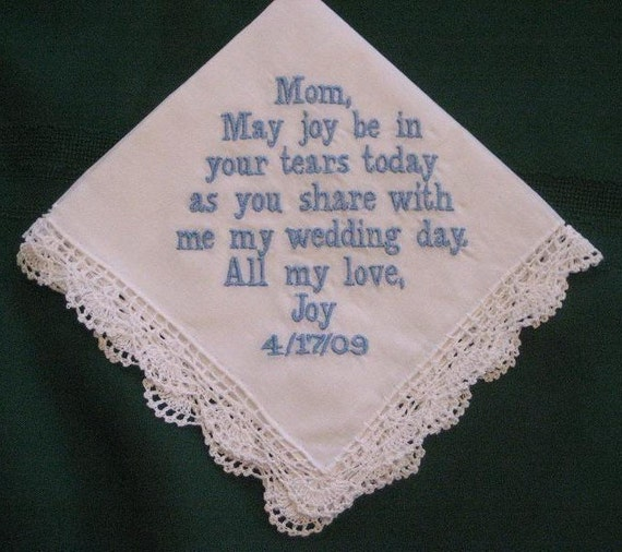 Personalized Wedding Gift - Wedding Handkerchief hanky hankie for Mother of the Bride  with Gift Box 16B includes shipping in the US