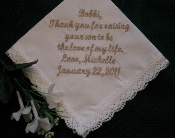 Personalised Wedding Gift Etsy : Personalized Wedding Gift-Wedding Handkerchief-Ivoryfor Mother of ...