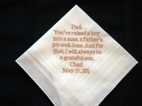 From Groom to his Father 13B Personalized Wedding Handkerchief