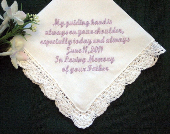 In Fathers Memory with Gift Box 45S Personalized Wedding Handkerchief