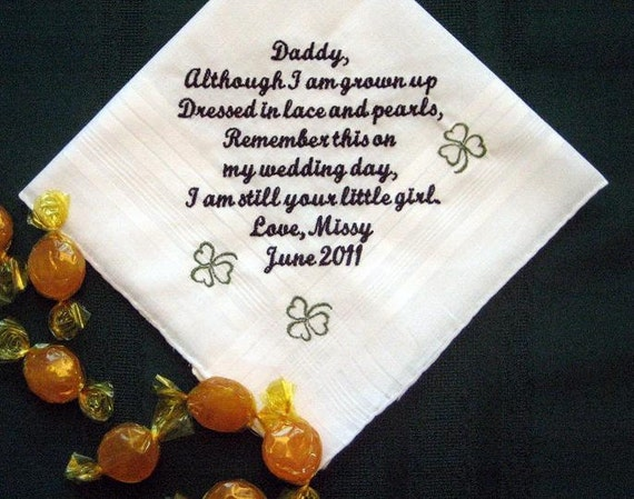 Gift For Dad On Wedding Day Handkerchief : ... from the Bride with Gift Box 105S Personalized Wedding Handkerchief