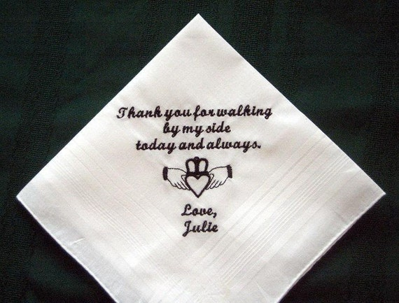 Father of the Bride with Gift Box 124S with shipping in the US Personalized Wedding Handkerchief