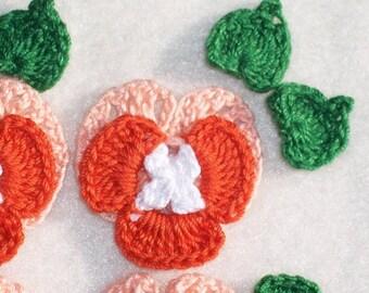 6 orange & peach crochet applique pansies with leaves  --  362