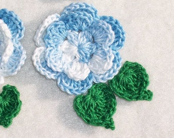 6 handmade crochet applique blue roses with green leaves  --  458