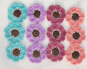 12 handmade cotton thread crochet applique flowers --  1341