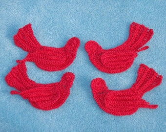 4 thread crochet applique red birds --  1434