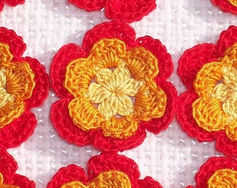 12 small  thread crochet applique roses  yellow/orange/red  -- 1445