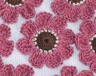 10 crochet applique flowers brown/ecru/dark rose  -- 1455