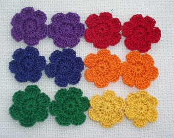 12 bright crochet applique flowers/6 pair  -- 1528