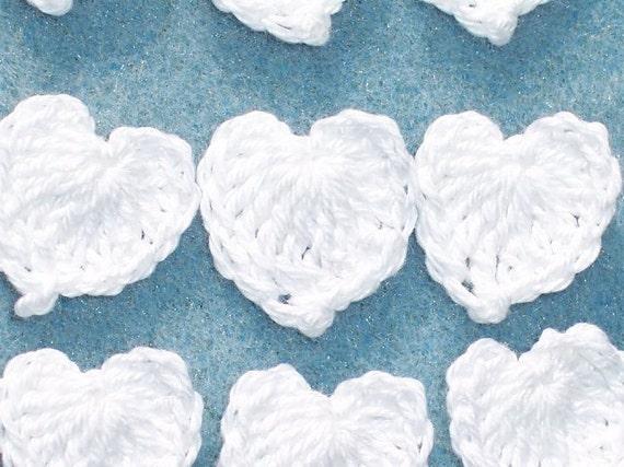 20 handmade white cotton thread crochet applique hearts --  1324
