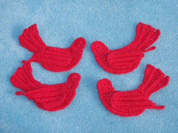 4 thread crochet applique red birds --  1434
