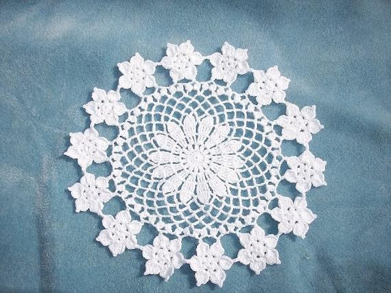 handmade round white cotton crochet doily with flowers  -- 1420