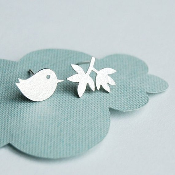 Tiny Bird and Branch Earrings