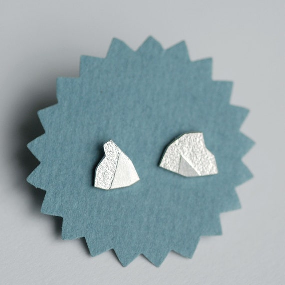 Small Mountain Sterling Silver Studs. Adventure earrings. LAST PAIR