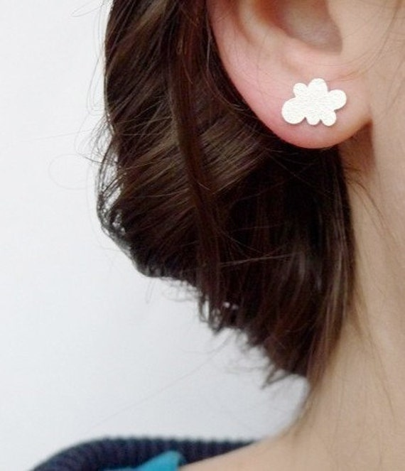 Cloud stud earrings, small studs in sterling silver, LAST PAIR