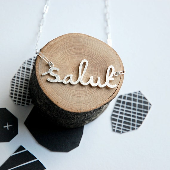Salut Hello Necklace in Sterling Silver. LAST PIECE