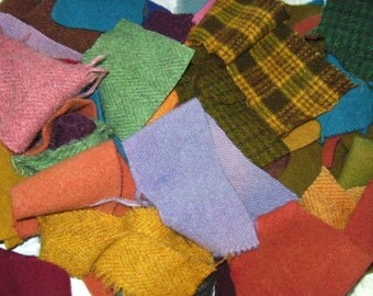 1 pounds  pure wool scraps Applique Penny Rug Hooking Needle Felting Quilt