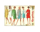 Simplicity 6883 Sewing Pattern Coat Jacket Dress Separates 1966 Missy Size 14 womens size 2