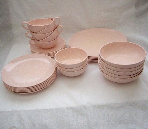 Daileyware Pink Speckle Dish Set by Home Decorators, Inc. 38 pc Set 1950s VINTAGE