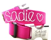 Engraved Personalized Metal Buckle Webbing Dog Collar with Hand Embroidery - 18 colors