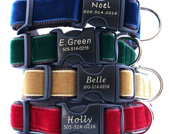 Lazer Etched Personalized Velvet Dog Collar - 14 colors