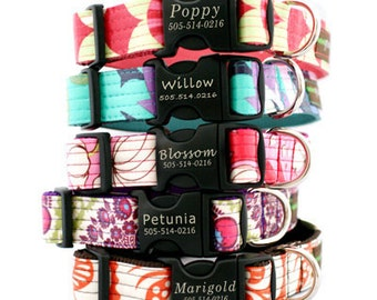 Lazer Etched Personalized Laminated Cotton Dog Collar - 13 styles