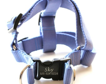 Laser Engraved Personalized Webbing Dog Harness - 21 colors