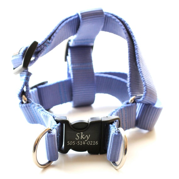 Laser Engraved Personalized Webbing Dog Harness 21 Colors