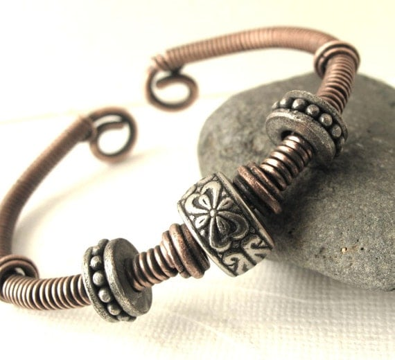 Boho Hand forged copper cuff bracelet with mixed metal beads