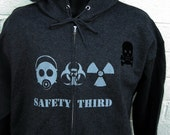 TRIPLE THREAT  Safety Third Zip front Hoodie - Mens hooded Sweatshirt Gas Mask Biohazard Radioactive Safety 3rd Apocalypse Hazpunk Anarcho