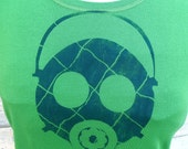 Plaid Gas Mask tshirt - S M L XL 2XL womens green tshirt handmade screenprint hazpunk  Kelly Green and Navy Blue