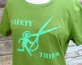 Running with Scissors SAFETY THIRD tshirt womens safety 3rd   green tshirt handmade screenprint