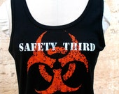 Infected Biohazard SAFETY THIRD tshirt  womens black Tank beater tee s m l xl  anarcho hazpunk punk Safety3rd womens tank top