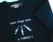 "Down Syndrome Awareness Tshirt  Womens ""Good things come in Threes"" -- HIS & HERS womens black navy blue  tshirt S  M  L  xL XXL Plus size"