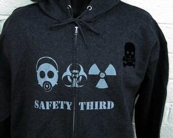 TRIPLE THREAT  Safety Third Zip front Hoodie - Mens hooded Sweatshirt Gas Mask Biohazard Radioactive Safety 3rd Apocalypse Hazpunk Anarcho